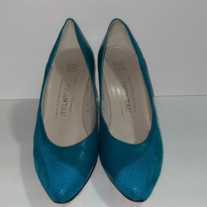 Vintage Chantal made in Italy teal  pumps